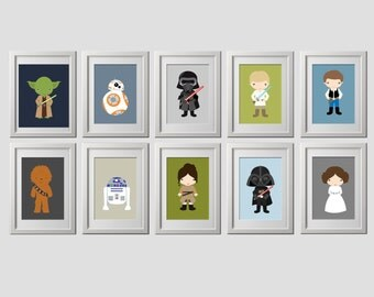 Star wars wall art prints, set of 10 5x7 inch prints, character background customized, star wars bedroom wall decor, star wars nursery art
