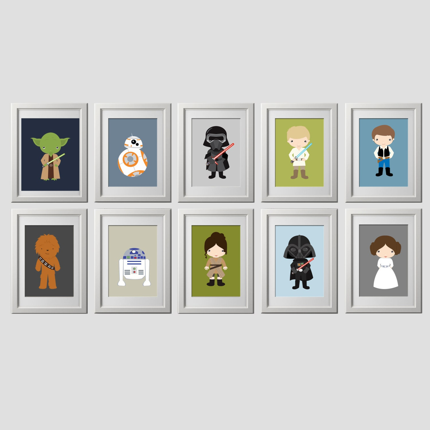 star wars wall art prints set of 10 5x7 inch prints. Black Bedroom Furniture Sets. Home Design Ideas