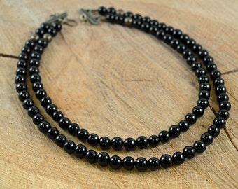 Black Onyx Double Strand Statement Necklace, Onyx Necklace, Onyx Statement Necklace, Black Necklace