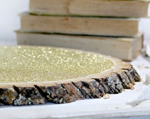 """10 Large Glitter Tree Stump Slices 10"""" for Vintage and Rustic Celebrations"""