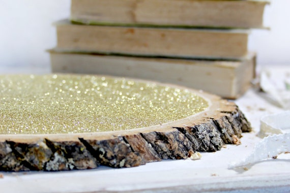 Large glitter tree stump slices 10 for by papermoonshoppeco for Large tree trunk slices