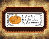 Pumpkin Address Labels - Halloween Address Labels - Mid Century - Vintage - Fall Address Labels