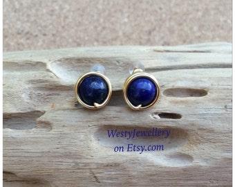 Lapis Lazuli Wire Wrapped Stud Earrings Handmade Lapis Lazuli Genuine Gemstone Earrings Blue Stud Earrings Lapis Lazuli Earrings Lapis Posts