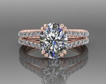 Forever One Moissanite Engagement Ring, Oval Engagement Ring, Split Shank, 18K Rose Gold, Diamond Engagement Ring,  Wedding Ring RE0067R