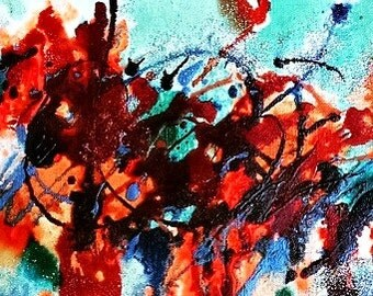 Watercolor-Acrylic-ink-abstract painting-original art-8x10 Matted to 5x7 with backing and bag- The Flower Wars