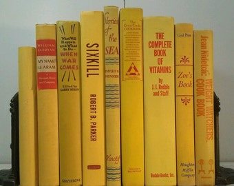 Old Vintage YELLOW & Red 9 Book Lot~Decorative Set