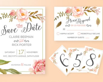 Printable Floral Watercolor Wedding Set | Save The Date card | RSVP card | Table numbers | Printable | Digital File |
