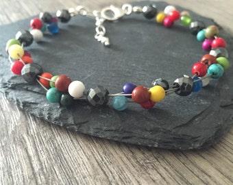 Mixed Gemstone and Sterling Silver Bracelet, multi colour bracelet