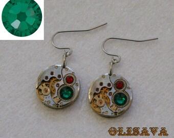 Steampunk Earrings  Vintage Mechanical Watch Movement and Emerald Swarovski crystals , Clockwork Earrings , Steampunk jewelry