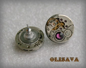 Steampunk Stud Earrings  Mechanical Watch Movement , Amethyst Swarovski crystals,Steampunk Earrings , Clockwork  earrings