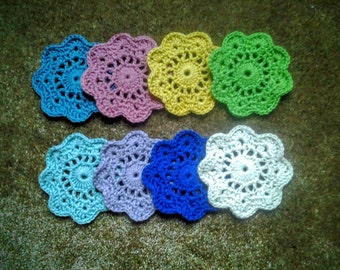 Crochet Flower Coasters / Drink Coasters / Barware / Housewarming or Hostess Gift, Set of 4 - Choose your colors