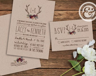 Rustic Wedding Invitations and RSVP Cards - Antlers & Flowers