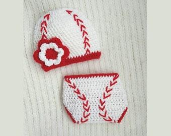 Baseball baby hat and diaper cover, baby gift, crochet baseball beanie, baby girl gift, newborn photo prop, 0-3 month baby shower gift