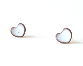 Heart Earrings, White Heart Earrings, Silver 925, Stud Earring, Heart Stud Earrings, Tiny Earrings, Ceramic Earrings, Natural Jewelry