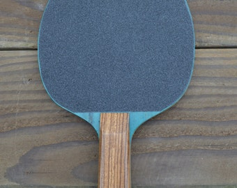 Hand Made Vintage Ping Pong Paddle (Blue/Zebra-Wood)