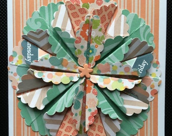 Handmade Turquoise Green, Orange and Tan Floral Card