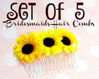 Sunflower Hair Combs - Set of 5 Bridesmaids Hair Combs