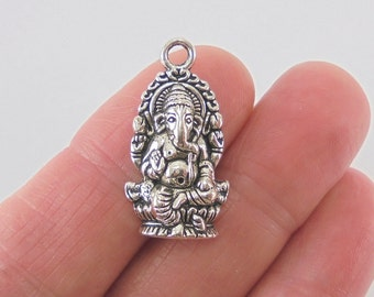 5 pc. Ganesh or Ganesha charm, 27x14mm, antique silver finish
