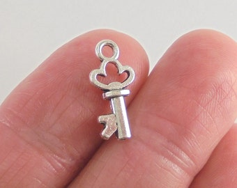 12 pc. Key charm, 16x8mm, antique silver finish