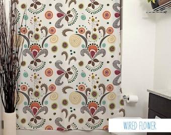 Wired Flower Pattern Shower Curtain. Floral Shower Curtain, White Decor, Bathroom Decor, Curtain, Fleur de Lis, Pattern, Cream, Bright
