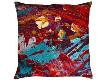 Comic Book Hero Printed Throw Pillow. Apartment and Dorm Decor, Sofa Cushion, Modern Art, Abstract Art, Knife Painting, Red Knife Painting