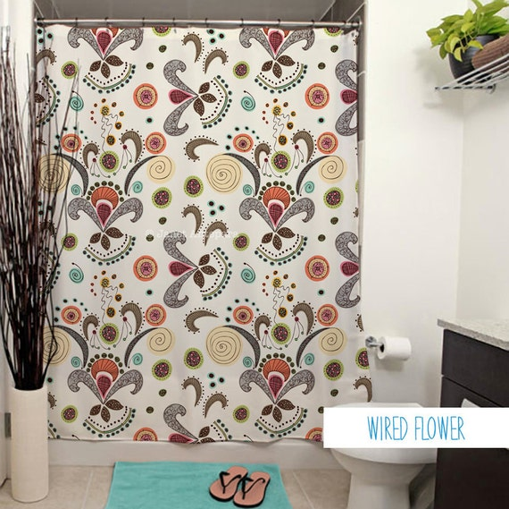Wired Flower Pattern Shower Curtain. Floral Shower Curtain, White ...
