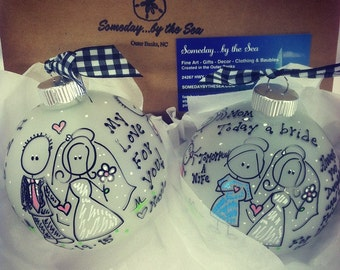 PARENTS of the BRIDE Gift Set, Story Ornament, Just Married Keepsake Gift for Mom and Dad, Set of Two Ornaments