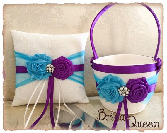 Vintage Flower Girl Basket And Ring Bearer Pillow : Turquoise flower girl basket purple ring bearer pillow