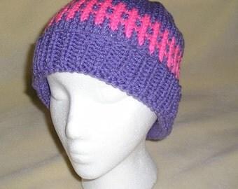 Pink and Purple, Winter Hat, Warm Winter Hat, stocking stuffer
