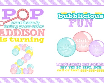 Bubble Birthday Party Pack- Invitation, Thank You Card, labels, tag, bubble refill sign- Pop on Over Bubble Party Pack boy girl - PRINTABLE!