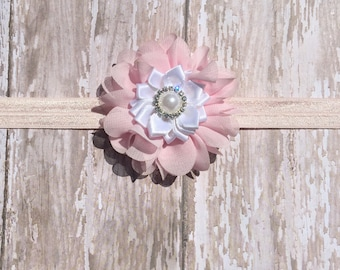 White and Pink Flower Headband-Newborn Headband-Baby Headband-PrettyinPink