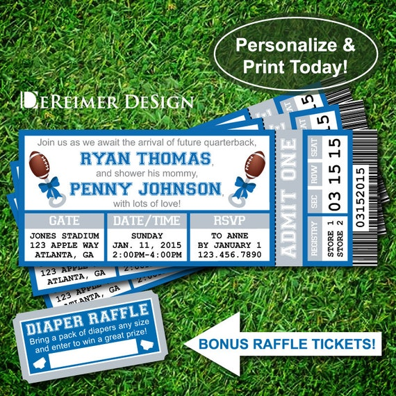 Printable Birthday Party Invitation Card Detroit Lions: Sports Ticket Baby Boy Shower Invitation Little All-Star Baby