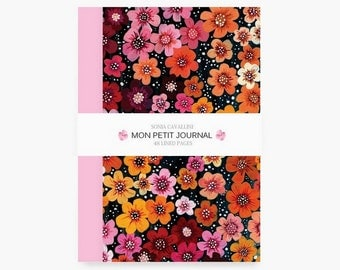 Notebook, journal, diary, A6, stationery, carnet, flowers, 70's, journal intime, papergoods, notes, vintage, floral,  Christmas present