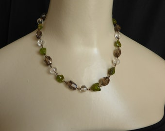 Peridot Nuggets with Smokey Quartz Facetted Beads