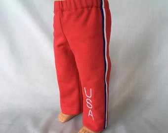Red USA Warm Up Pants for American Girl/18 inch doll