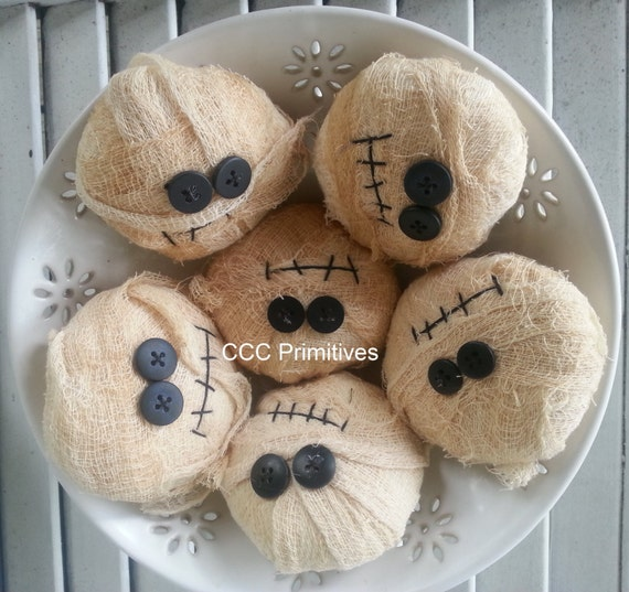 Primitive Mummy Bowl Filler - Primitive Halloween Mummy Decor - Fall Mummy Home Decor - Fall Mummy - Cheesecloth Mummy