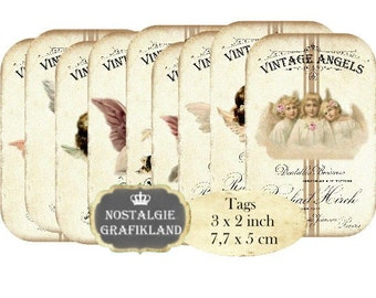 Victorian Angels Tags Instant Download digital collage sheet T074 Christmas Cherubs Vintage