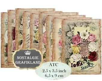Vintage Roses Blumen Instant Download printable Decoupage ATC digital collage sheet S121