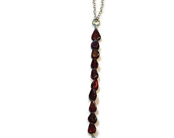 Garnet bead necklace handmade red garnet necklace silver gemstone necklace unique necklace for womens gift january birthday anniversary gift