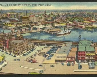 Linen Postcard - Plaza and Bridgeport Harbor in Bridgeport, Connecticut  (1609)