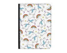 """Unicorns and Rainbows Pattern Universal 8.9-10.1"""" Leather Flip Case Cover - iPad 1 2 3 4 iPad Air 1 2 Samsung Tab A E S2 9.6"""" 9.7"""" + More"""