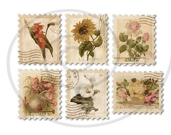 Floral stamps. Fake stamps. Old postage stamps. Vintage digital stamps. Postage stamp art. Digital collage sheet #3. Instant download PNG