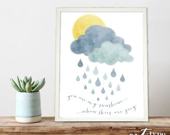 You are my Sunshine Print Quote INSTANT DOWNLOAD 8x10 PRINTABLE Children's Wall Art, Baby Nursery Decor Art, Lullaby Quote Print
