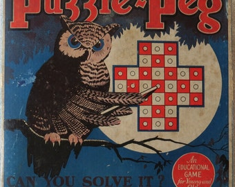 Reduced! Vintage 1929 Puzzle-Peg Game, Fifth Edition by Lubbers & Bell Mfg. Co.