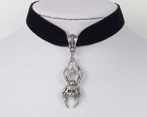 Velvet Choker Skull Spider Antique Silver Necklace Pendant