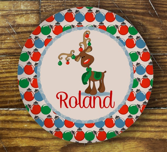 Personalized Dinner Plate or Bowl - Ornaments Reindeer