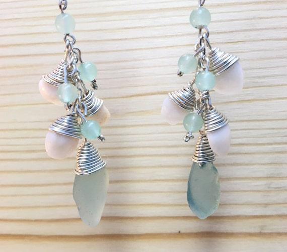 Chandelier earrings with aqua seaglass, shell and aventurine beads
