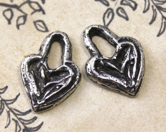 Handcast Pewter Heart Charms Jewelry Supplies No. 174C