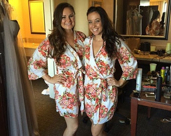 Set of  Bridesmaids Robes Kimono Crossover Robe Perfect bridesmaids gift, getting ready robes, Bridal shower favors, Wedding photo prop