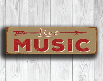 LIVE MUSIC SIGN, Live Music Signs, Vintage style Live Music Sign,  Music, OutdoorMusic Sign with Directional Arrow. Live Music Pointer Sign